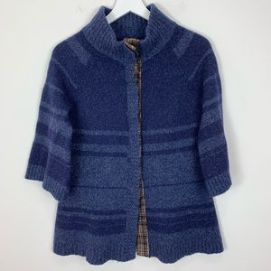 Free People 3/4 Sleeve Wool Snap Front Cardigan